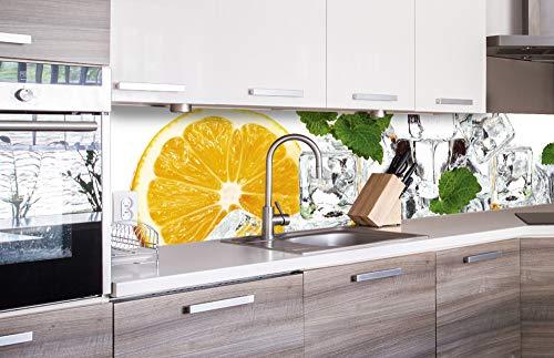 DIMEX LINE Küchenrückwand Folie selbstklebend Zitrone UND EIS   Klebefolie - Dekofolie - Spritzschutz für Küche   Premium QUALITÄT - Made in EU   260 cm x 60 cm