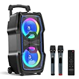 VeGue Karaoke Machine, Wireless Bluetooth PA System for Adults & Kids with Dual 8'' Subwoofers, 2 UHF Wireless Mics, Colorful LED Lights, Ideal for Home Karaoke, Party, Stage Performance (VS-0808)