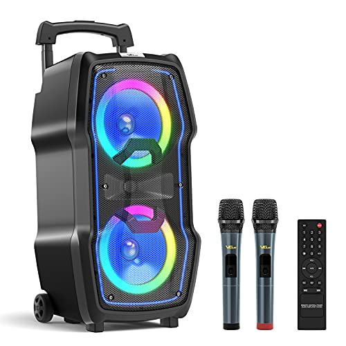VeGue Karaoke Machine, Wireless Bluetooth PA System for Adults & Kids with Dual 8''...
