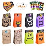 Homyplaza Halloween Goody Bags Party Favors, 48 Pcs Halloween Treats Bags with 48 Pcs Sticker, Mini Paper Halloween Trick or Treat Goodie Gags Gift Bags
