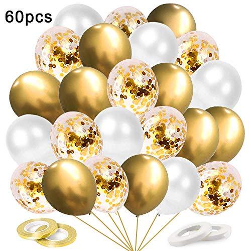 O-Kinee Luftballons Metallic Gold, 60 Stück Luftballons Golden Konfetti, Hochzeit Hochzeitsballons, Helium Balloons für Geburtstag Hochzeit Babyparty Valentinstag Silvester Deko, 12 Zoll (Gold)