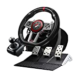 Game Racing Wheel, Bonacell 270/900 Degree PC Steering Wheel with Universal USB Port and with 3-Pedal Pedals and Shifter Bundle, Suitable for PC, PS3, PS4, Xbox One, Nintendo Switch