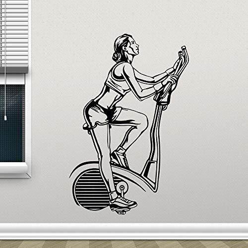 Tianpengyuanshuai Fitnessstudio Fahrrad Vinyl Aufkleber Art Deco Wandbild Fitnessraum Dekoration abnehmbare Aufkleber 46X69cm