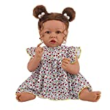 UCanaan Reborn Baby Dolls Real Life Handmade Soft Body 22 Inches Realistic Newborn Cute Girl African American Dolls Best Birthday Gift Set for Ages 3+