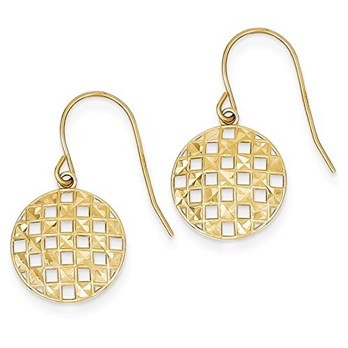 14k Yellow Gold Circle Checkered Shepherd Hook Dangle Earrings