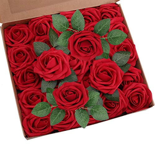 Vegena Künstliche Kunst Rosen Blumen, 25 Stück Gefälschte Kunstrose Schaumrosen Kunstblumen Blumenköpfe Rosenköpfe für DIY Braut Bouquet Zuhause Hochzeit Hausgarten Party Dekor Blumenschmuck