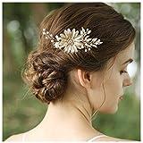 HONEY BEAR donna clip pettine per capelli,gioielli da sposa,accessori per capelli sposa,gioielli a forma di fiore con finte perle e strass (Piccoli fiori margherita)