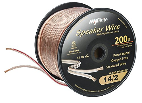 High Performance 14 Gauge Speaker Wire, Oxygen Free Pure Copper - UL Listed Class 2 (200 Feet Spool)