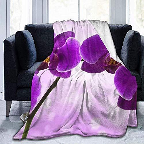 Manta,Manta de Felpa de Microfibra con Estampado de Flores moradas para Dormitorio, Sala de Estar, sofá, Cama, sofá para niños y Adultos, 60 x 50 Pulgadas