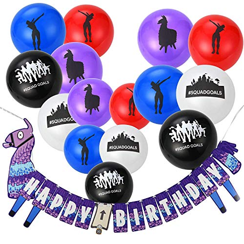Gaming Party Supplies Balloons and Banners - 50pcs assorted colorful latex party favors balloons and birthday Banner decorations