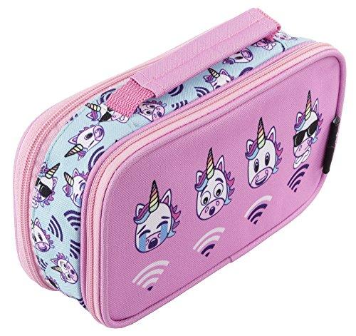 FRINGOO® Astuccio per bambini bambine con due compartimenti per la scuola Borsellino con maniglia Unicorn WiFi - 2 Compartments