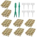 YYWJ - Juego de 12 bandejas de semillero, biodegradables para el hogar con 6...