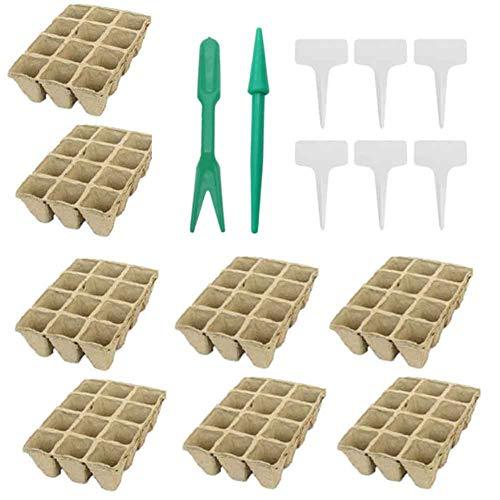 YYWJ - Juego de 12 bandejas de semillero, biodegradables para el hogar con 6 etiquetas de plástico para plantas, ecológicas y de germinación, No nulo, como en la imagen, Tamaño libre