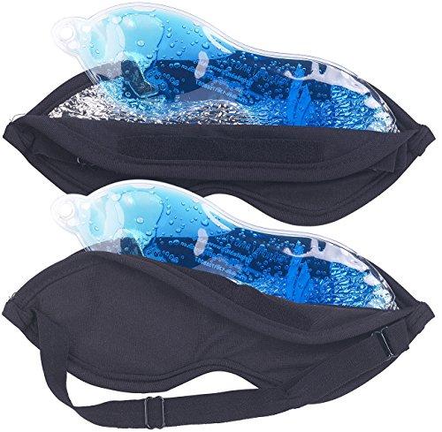 PEARL Kühlkissen zum Schlafen: 2in1-Schlaf- und Augenmaske, mit Kühl- und Wärme-Gelkissen, 2er Set (Augen Kühlkissen)