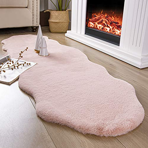 Ashler Ultra Soft Faux Rabbit Fur Chair Couch Cover Area Rug for Bedroom Floor Sofa Living Room Pink 2 x 6 Feet