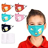 COOLINKO Kids Face Mask Protection with 2 Activated Carbon PM2.5 Filter and Adjustable Band - Cute Cartoon White Bear Fashion Cotton Breathable Mouth Head Accessory (5 Pack)