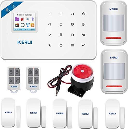 KERUI W18 GSM WIFI Sistema de Alarma Seguridad para Hogar por CALL/SMS/APP, Kits Alarma Antirrobo Inalámbrico DIY con Detector/Sensor de Movimiento de Alarma Puerta sin cuotas para Casa/Tienda/Oficina