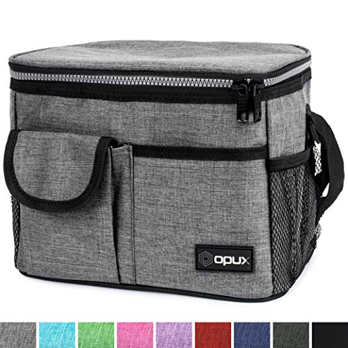 OPUX Insulated Lunch Box, Lunch Bag for Men Women | Soft Leakproof Lunchbox for Kids School Work | Reusable Thermal Lunch Cooler, Shoulder Strap, 4 Pockets | Fits 14 Cans, Heather Gray