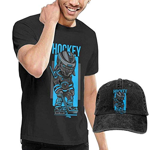 SOTTK Camisetas y Tops Hombre Polos y Camisas,t-Shirts, Tees, Skins Men Personalized Hockey Game Summertime 100% Organic Cotton Short Sleeve Shirts and Cowboy Hat Black