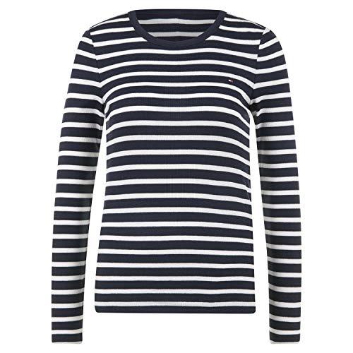 Tommy Hilfiger TH ESS Skinny Open-NK Rib Top LS Camisa, Blue, XXXL para Mujer