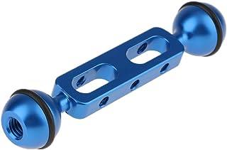 5'' Aluminium Dubbele bal Arm voor het aansluiten van Strobe/Video Licht om Duik Scuba Onderwater Fotografie Behuizing Blauw