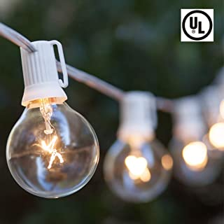 Boutique window 100FT Outdoor Patio String Lights with 102 Clear Globe Bulbs-UL Listed for Indoor/Outdoor-White Wire