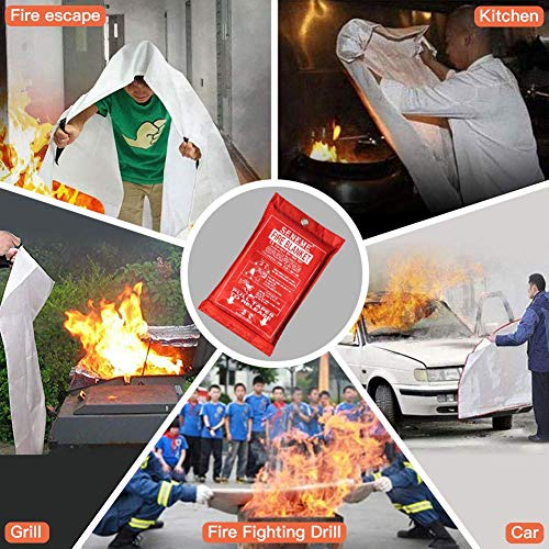 Seneme Fire Blanket Fire Suppression Blanket with Fire Protective Gloves + Hooks - Suitable for Camping, Grilling, Kitchen Safety, Car and Fireplace Retardant Survival Blanket for Emergency