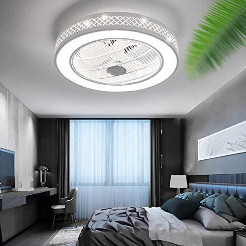 WUAZ Deckenventilator Mit Licht, LED-Fernbedienung 3-Farben-Leuchtvarianten, Unsichtbare Acryl Klingen Metall Shell Halb Erröten-Einfassung Low Profile Fan 22 Zoll