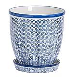 Nicola Spring Macetero de Porcelana con Bandeja recogegotas - Estampado Azul - 20cm