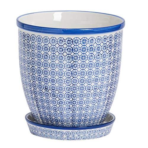 Nicola Spring Blumentopf mit Untersetzer - Porzellan - blaues Muster - 20 cm