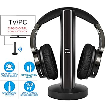 Wireless TV Headphones with 2.4G Digital RF Transmitter Hi-Fi Over-Ear Cordless Headset with RCA / 3.5MM / Optical Port for Watching Home TV Game Computer Television