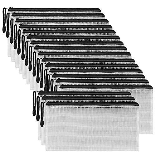 SUNEE Plastic Mesh Zip Pencil Pouch (Black,18 Pack), Zip File Folder Bags for Office Supplies, Cosmetics, Travel Storage, Bills, Accessories Organizing Storage