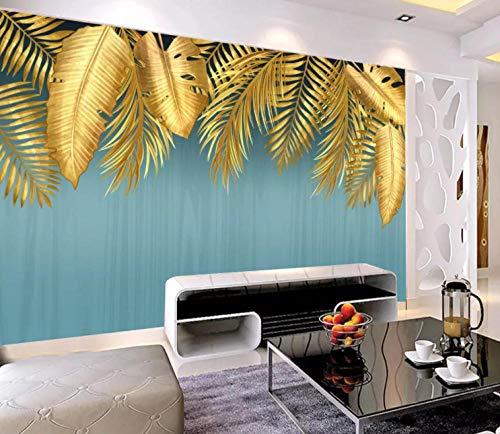 Fotobehang wandbehang bladgoud handgeschilderd modern minimalistisch sticker slaapkamer woonkamer TV achtergrond decoratie huis 300cm x 210cm