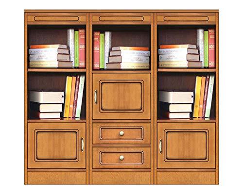 Aufbau Bücherregal niedrig für Büro Haus, Möbel modular aus Holz für Einrichtung klassisch modern, Bücherregal niedrig raumsparend 4 Fächer/3 Türen/2 Schubladen, Made in Italy