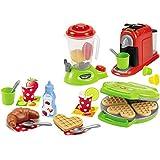 #11 Küchengeräte im Set, 3 Stück mit viel Zubehör, für Kinder ab 18 Monaten - Spielzeug Kaffeemaschine Waffeleisen Mixer Kinderküche-Zubehör