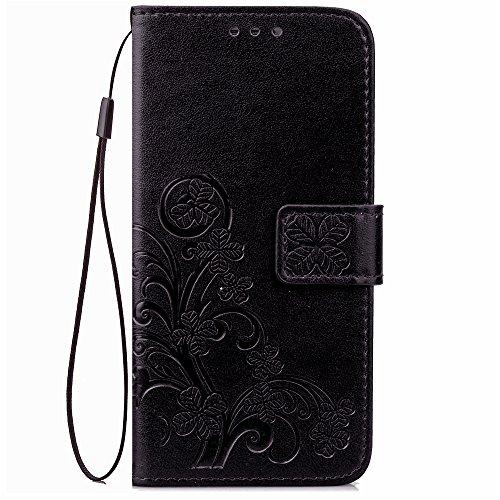 ISAKEN Compatibile con Samsung Galaxy S5 Mini Cover, Custodia in Pelle PU, Supporto Stand e Porta Carte Integrati Portafoglio Flip Custodia di Pelle Case Flip Stile Libro Cover - Fiori: Nero