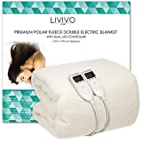 LIVIVO ® Premium Polar Fleece Electric Blanket with Dual LED Controller –Soft