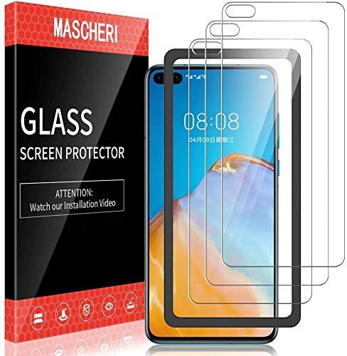 MASCHERI Schutzfolie für Huawei P40 Panzerglas, [3 Pack] [Ausgestattet mit einem Einbaurahmen] Bildschirmschutzfolie Panzerfolie Bildschirmschutz Panzerglasfolie Glas Folie für Huawei P40