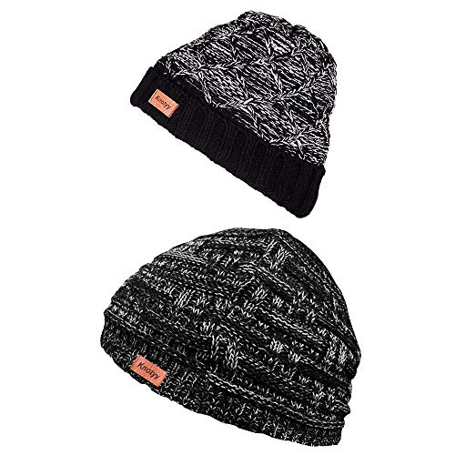 Knotyy Combo Beanie Caps, Woolen Caps, Knitted Slouchy Caps, Skull Cap for Men & Women (Pack of 2)