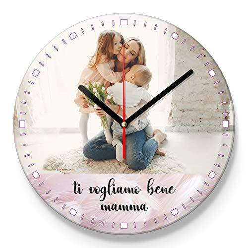 LaMAGLIERIA Orologio Personalizzato con la Tua Foto e Dedica - Festa della Mamma- Orologio da Parete in Vetro - Tondo Diametro 30cm