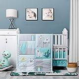 La Premura - Juego de ropa de cama para cuna de bebé, 3 piezas, tamaño estándar, gris, ropa de cama para niñera y decoración neutra, Llama Love