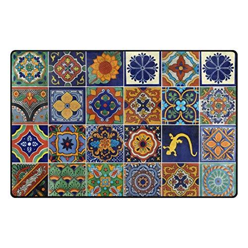 Alfombra de poliéster mexicano, antideslizante, para salón, comedor, dormitorio, decoración del hogar, 60 x 39 pulgadas