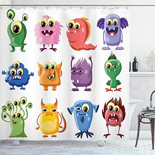 Ambesonne Funny Shower Curtain, Animated Bacteria Aliens Theme Germ Whimsical Cartoon Monsters Humor Faces Graphic, Cloth Fabric Bathroom Decor Set with Hooks, 75' Long, Multicolor