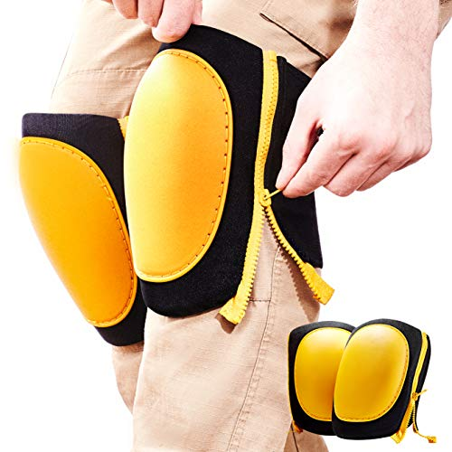Strapless, Pinch-Free Zipper Knee Pads. Best Heavy Duty Tile, Pro Construction or Garden Work Padded Guards. Mens and Womens Comfy, Adjustable Size Wrap Kneepads. Black and Yellow No Scuff Safety Wear