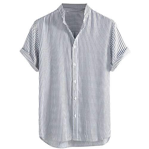 TWISFER Herren Hemd Kurzarm Hawaiihemd Streifen Sommerhemd V-Ausschnitt Freizeit Hemd Regular Fit Sommer Shirt für Männer