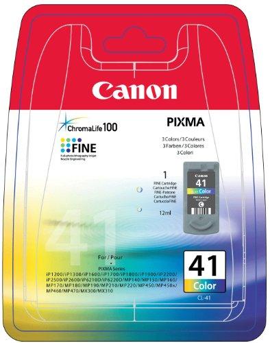 Canon CL-41 Cartucho de tinta original Tricolor para Impresora de Inyeccion de tinta Pixma MP140,150,160,170,180,190,210,220,450,450x,460,470-iP1200,1300,1600,1700,1800,1900,2200,2500,2600