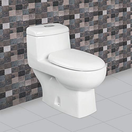 Belmonte Ceramic Floor Mounted One Piece Western Toilet/Water Closet/Commode/WC/EWC Eroca S Trap with Slow Motion/Soft Close Seat Cover 70cm x 37cm x 66cm - White