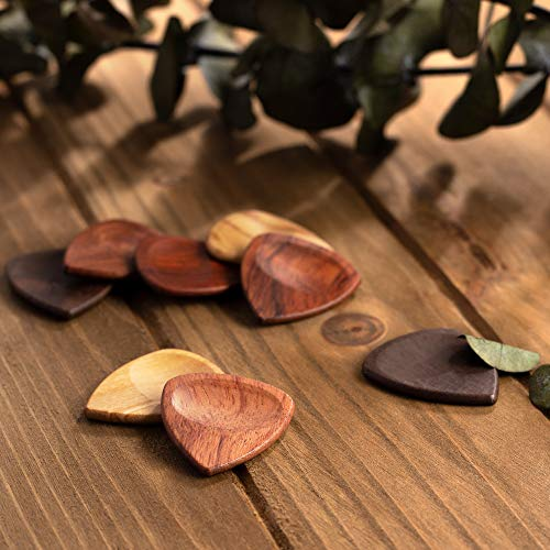 TimbreGear Genuine Exotic Wood Guitar Picks with ThumbGroove 8 Picks in A Guitar Pick Holder Best Gift Idea