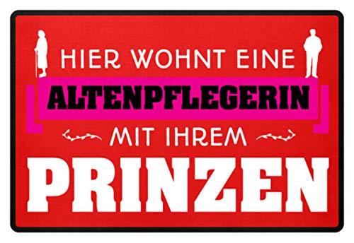 Shirtee - Felpudo, diseño con texto en alemán Altenpflegerin rojo rubí 60x40cm