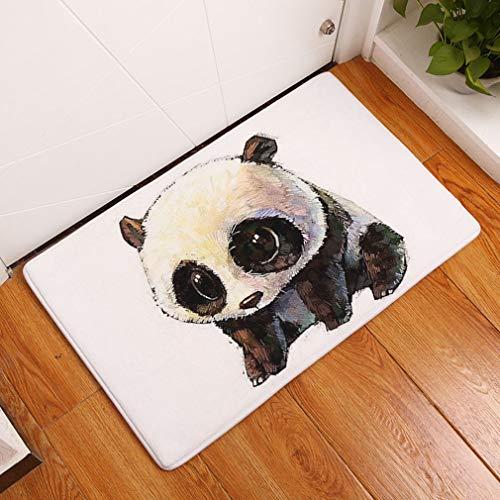 Lihan Diseñador Lavable Alfombra de Piso de Cocina Alfombra de Franela Antideslizante Alfombra Tapetes de Puerta Súper Absorbente felpudos Frikis Navidad Gatos, Panda 3 40 * 60cm/16 * 24inch